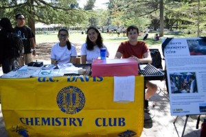 Members of the UC Davis Chemistry Club try to recruit more members.