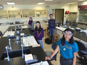 Students working on the National Chemistry Olympiad Laboratory Exam