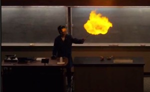 A firey demo that was part of the Chemistry Magic Show at UCD during Picnic Day.