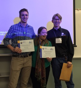 David Ricci (left) and Teresa Palazzo (right) receive their Student Travel Awards for attending the ACS WRM