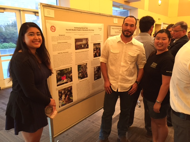 The SCC ACS Chemistry Club poster submitted to the R. Bryan Miller Symposium. From left to right: Micah Bongo, Dan Gruber, and Ada Kwong.