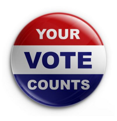 "pin on button with words ""Your Vote COunts"""