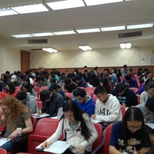 Students taking exam